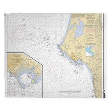 Crescent City, CA Nautical Chart Fleece Throw Blanket