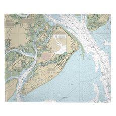 Hilton Head Island, SC (Close Up) Nautical Chart Fleece Throw Blanket