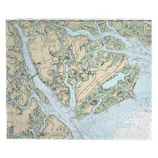 Port Royal Island, St. Helena Island, Fripp Island, Hunting Island, SC Nautical Chart Fleece Throw Blanket