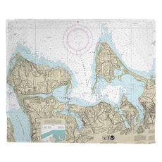 Huntington Bay, NY Nautical Chart Fleece Throw Blanket