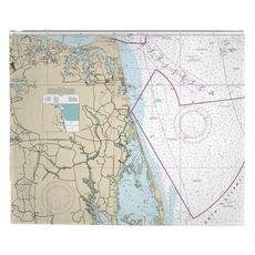 Virginia Beach, VA Nautical Chart Fleece Throw Blanket