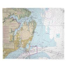 Hampton, VA Nautical Chart Fleece Throw Blanket