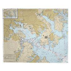 Baltimore, MD Nautical Chart Fleece Throw Blanket