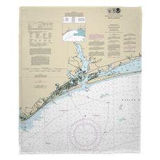 Swansboro, NC Nautical Chart Fleece Throw Blanket