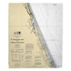 Ormond Beach, Daytona Beach, FL Nautical Chart Fleece Throw Blanket