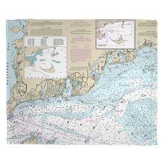 Falmouth, MA Nautical Chart Fleece Throw Blanket