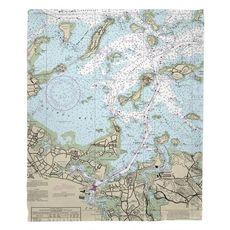 Quincy, MA Nautical Chart Fleece Throw Blanket