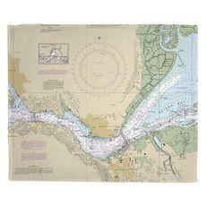 Benicia, CA Nautical Chart Fleece Throw Blanket