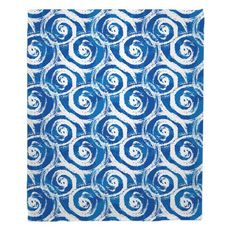 Swirls Blue Fleece Throw Blanket