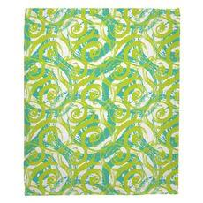 Swirls Lime Fleece Throw Blanket