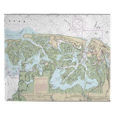 Brigantine, NJ Nautical Chart Fleece Throw Blanket