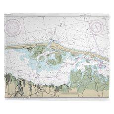 Barnegat Light, NJ Nautical Chart Fleece Throw Blanket