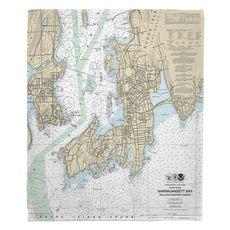 Newport, RI Nautical Chart Fleece Throw Blanket