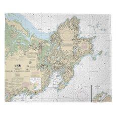 Cape Ann, MA Nautical Chart Fleece Throw Blanket