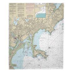 Lynn, Nahant, MA Nautical Chart Fleece Throw Blanket