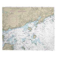 Manchester, MA Nautical Chart Fleece Throw Blanket