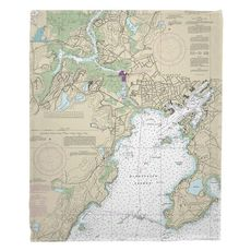 Gloucester Harbor, MA Nautical Chart Blanket