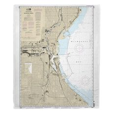 Milwaukee Harbor, WI Nautical Chart Fleece Throw Blanket