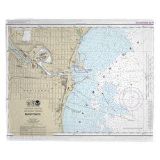 Manitowoc, WI Nautical Chart Fleece Throw Blanket