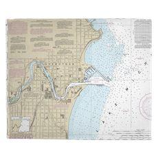 Sheboygan, WI Nautical Chart Fleece Throw Blanket
