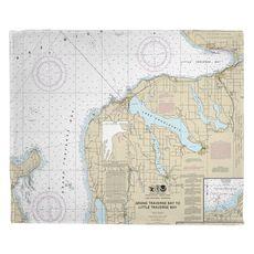 Charlevoix, MI Nautical Chart Fleece Throw Blanket