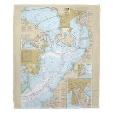 Tampa Bay, FL Nautical Chart Fleece Throw Blanket