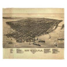 Key West, FL, C. 1884 Vintage Bird's Eye View Fleece Throw Blanket