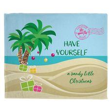 Have Yourself A Sandy Little Christmas Fleece Throw Blanket
