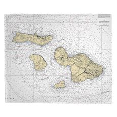 Molokai, Lanai, Maui, Kahoolawe, HI Nautical Chart Fleece Throw Blanket