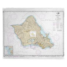 Oahu, HI Nautical Chart Fleece Throw Blanket