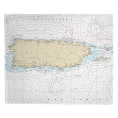 Puerto Rico, Vieques, Culebra Nautical Chart Fleece Throw Blanket
