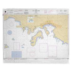 St. Thomas Harbor, USVI Nautical Chart Fleece Throw Blanket