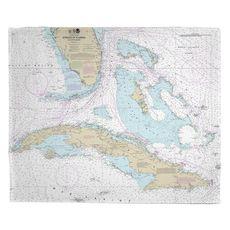 Straits of Florida Nautical Chart Fleece Throw Blanket