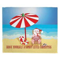 Beach Santa Christmas Fleece Throw Blanket