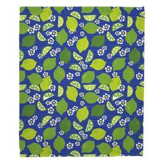 Limes and Daisies Fleece Throw Blanket
