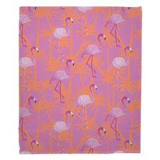 Pink Flamingos Fleece Throw Blanket