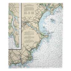 Biddeford, ME Nautical Chart Fleece Throw Blanket