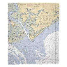 Edisto Beach, SC Nautical Chart Fleece Throw Blanket