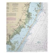 Long Beach Island, NJ Nautical Chart Fleece Throw Blanket