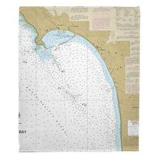 Half Moon Bay, CA Nautical Chart Fleece Throw Blanket