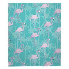 Pink Flamingos on Aqua Fleece Throw Blanket