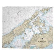 Shelter Island Sound and Peconic Bays, NY Nautical Chart Fleece Throw Blanket