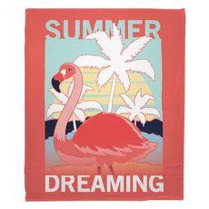 Summer Dreaming Flamingo Fleece Throw Blanket