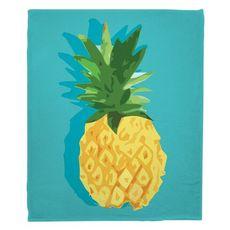 Summer Pineapple Fleece Throw Blanket