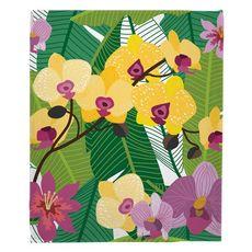 Orchid Garden Fleece Throw Blanket