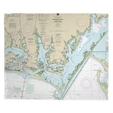 Beaufort Inlet, Core Sound, NC Nautical Chart Fleece Throw Blanket