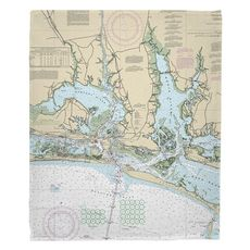 Morehead City, Beaufort, NC Nautical Chart Fleece Throw Blanket