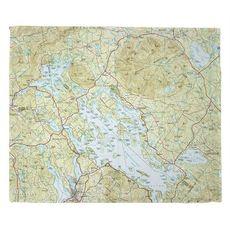 Lake Winnipesaukee, NH Nautical Topo Map Fleece Throw Blanket