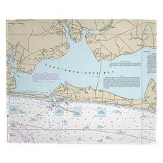 Destin, FL Nautical Chart Fleece Throw Blanket