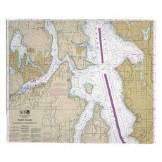 Bremerton, Bainbridge Island, Seattle, WA Nautical Chart Fleece Throw Blanket